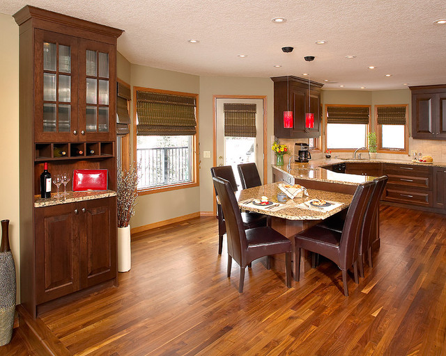 walnut hardwood floor in kitchen - contemporary - kitchen