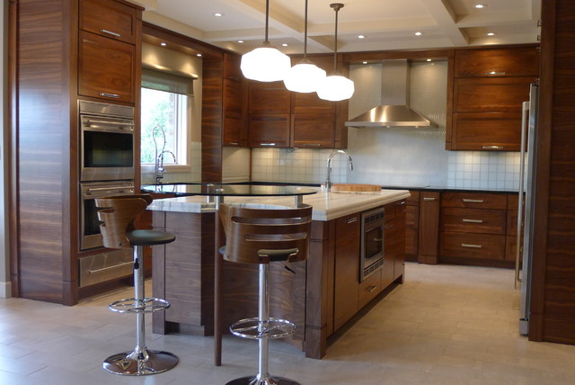 Walnut horizontal grain kitchen contemporary kitchen for Walnut kitchen designs