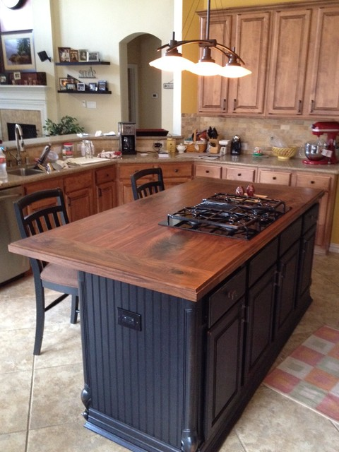 Walnut Island counter tops - Traditional - Kitchen - houston - by Texas Woodworks