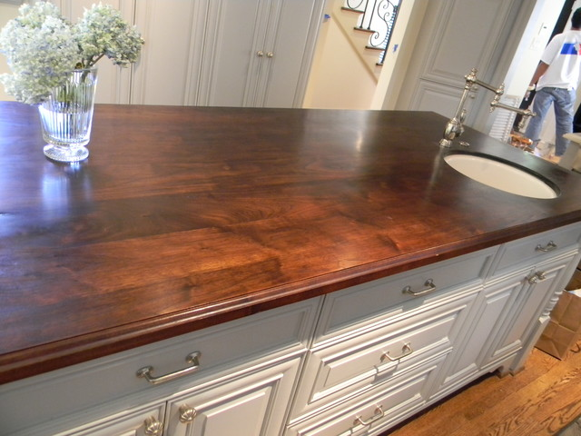 Walnut Island counter tops - traditional - kitchen - houston - by