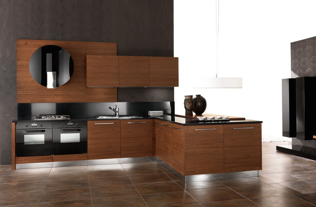 Walnut italian kitchen cabinetry contemporary kitchen for Italian kitchen cabinets