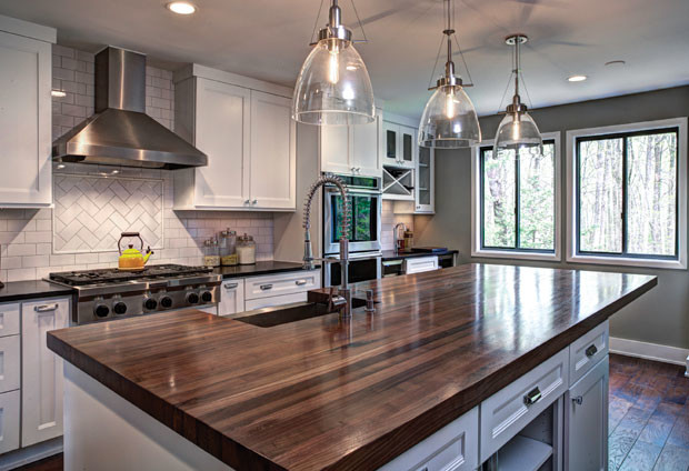 White Kitchen With Walnut Butcher Block Countertop : Walnut Kitchen Island - Transitional - Kitchen - Atlanta - by J. Aaron Custom Wood Countertops