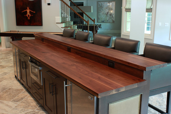 Walnut Kitchen Island Top With Raised Wood Bar Top contemporary-kitchen