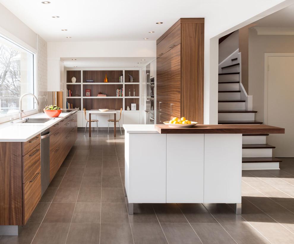 Walnut-kitchen l Cuisine en noyer - Contemporary - Kitchen ...