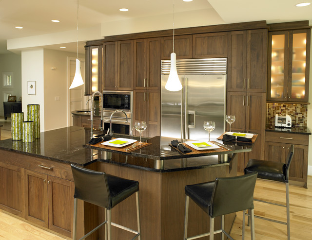 Walnut Kitchen Contemporary Kitchen Charlotte By E3 Cabinets Design