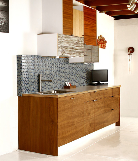 Walnut Mixed Material Ikea Kitchen Contemporary Kitchen Los Angeles By Semihandmade