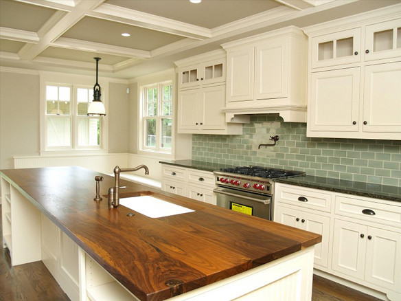 Walnut Plank Countertops traditional-kitchen