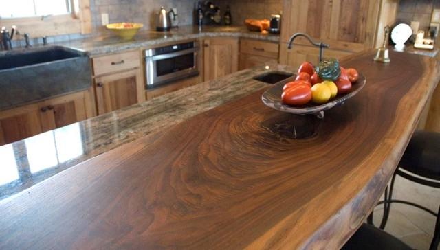 Walnut Slab Bartop Rustic Kitchen Denver By T