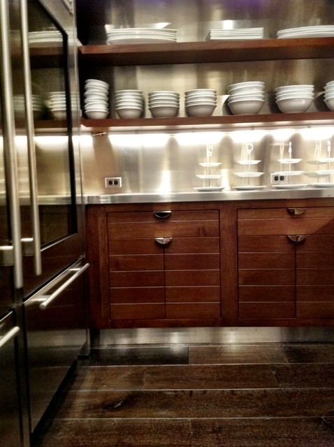 walnut stainless steel pantry