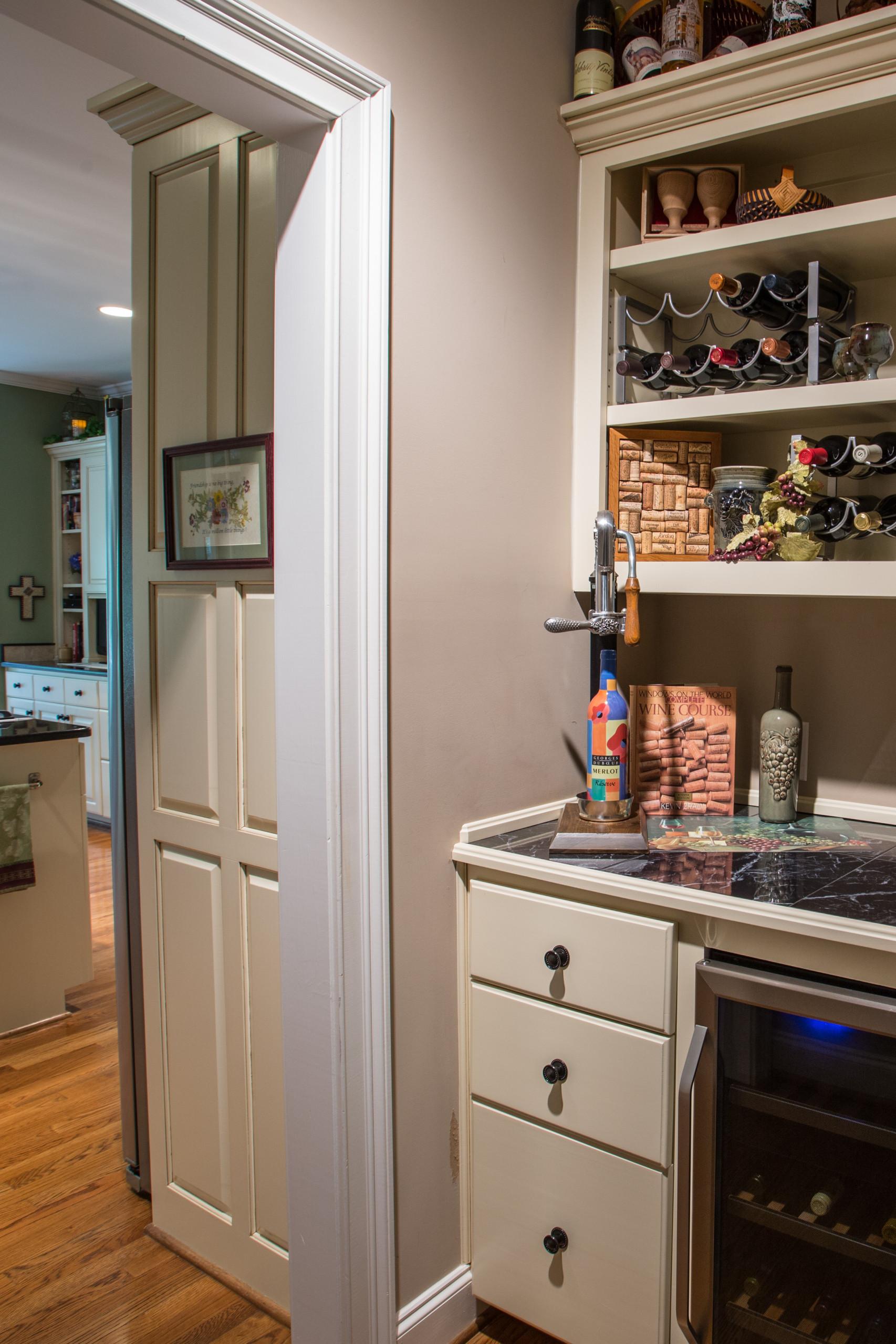 Walnut Trace Kitchen/Wine Cabinet After