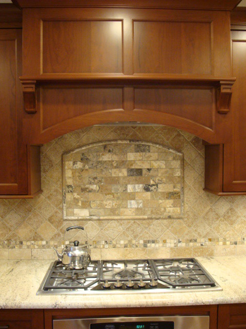 Walnut Travertine Antik Onyx Backsplash Rustic