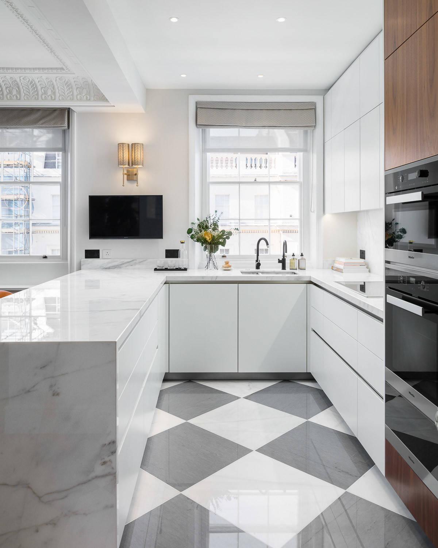 75 Beautiful White Marble Floor Kitchen Pictures Ideas December 2020 Houzz