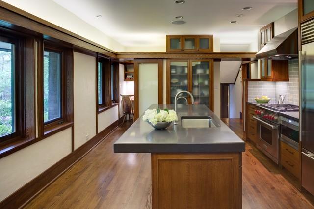 Evanston prairie style house renovation modern kitchen chicago by tom bassett dilley for Prairie style kitchen design