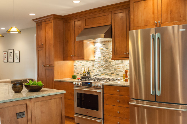 Warm and Cozy Kitchen with Open Plan Living Room ...