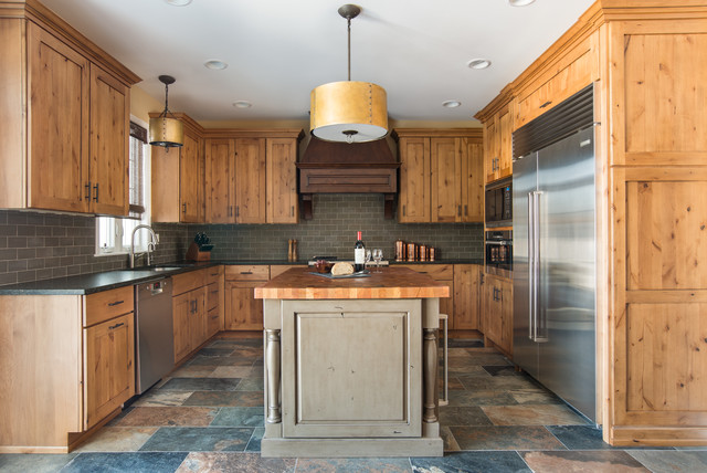 Warm and Rustic Remodel - Rustic - Kitchen - Chicago - by Kristin Petro Interiors, Inc.