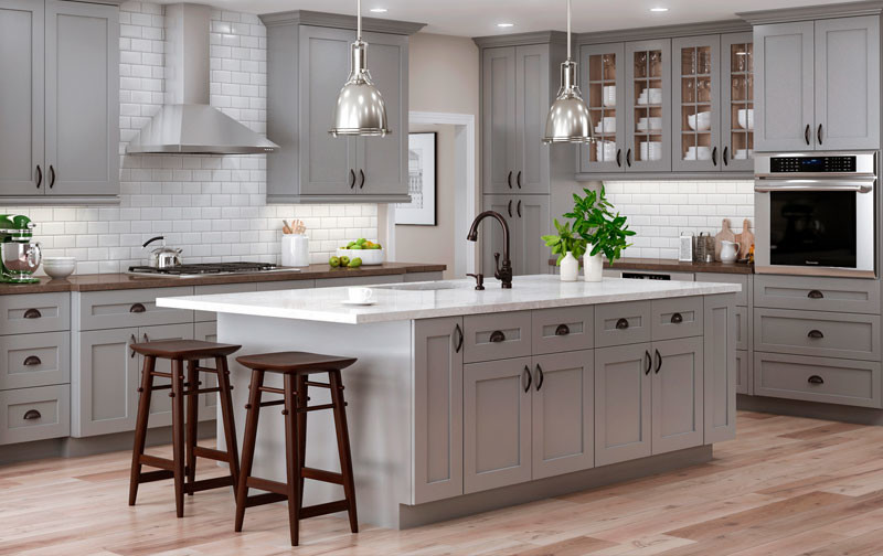 Warm Grey Cabinets In Classic Shaker Cabinets Transitional Kitchen Houston By Lindberg Flooring Remodeling