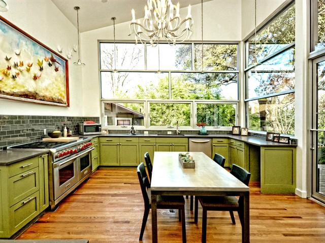 Warm Modern Kitchen Addition Transitional Kitchen Austin By Kr Kohlhaas Design