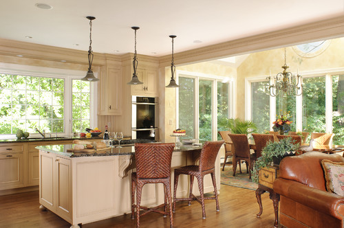 Love kitchen dining room and family room layout for Kitchen dining room layout ideas