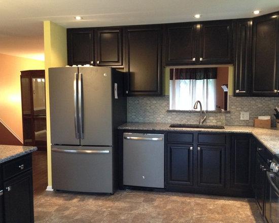 65 Kitchen Design Photos with Dark Wood Cabinets, Granite Countertops
