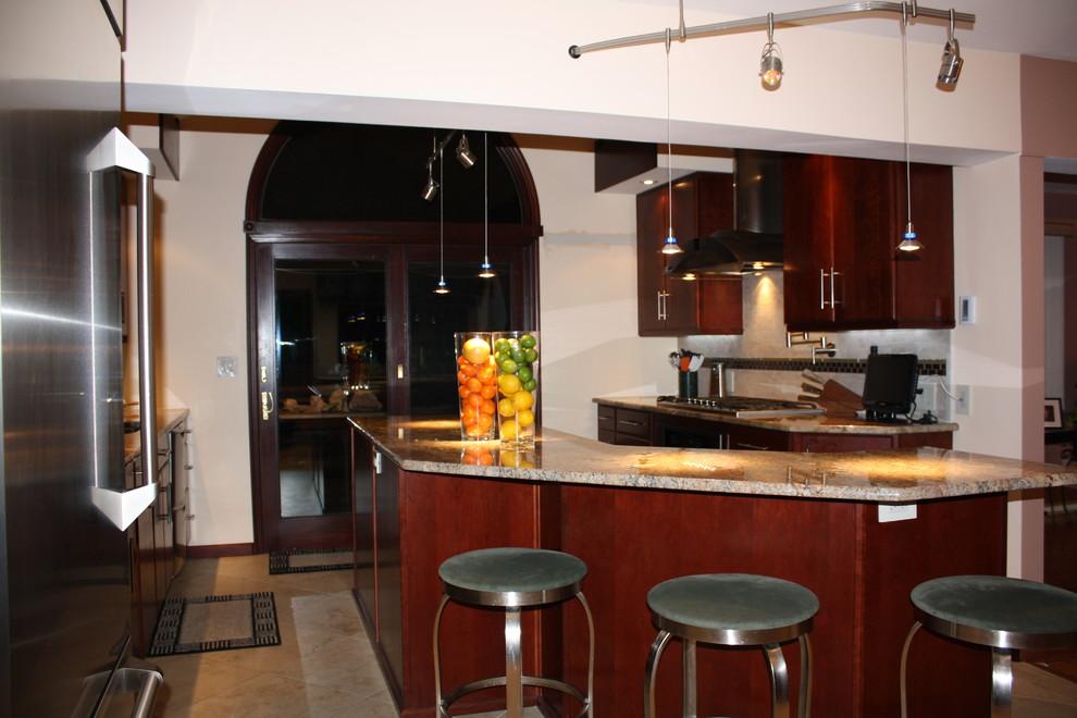 Washington Twp NJ Contemporary Kitchen - Burgundy Cherry ...