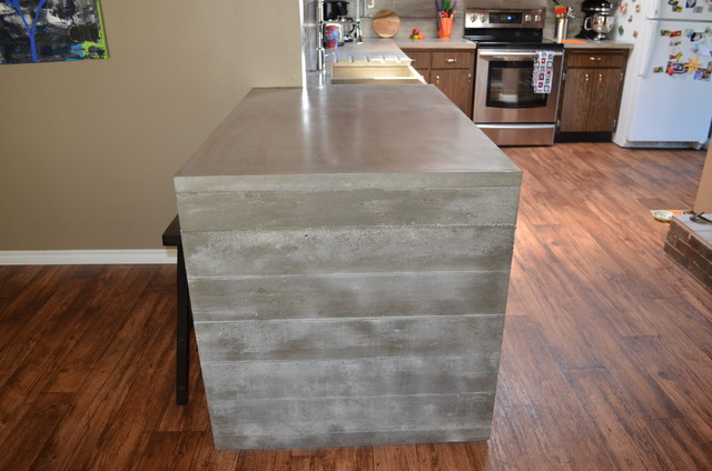 Waterfall Concrete Countertop Finished By Mode Concrete Contemporary Kitchen Vancouver