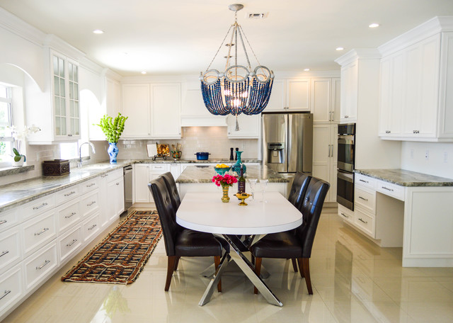Example Of A Large Transitional U Shaped Porcelain Floor Eat In Kitchen  Design In