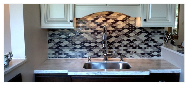 Http Www Houzz Com Photos 8759379 Wave Shaped Stone And Glass Tile Kitchen Backsplash Contemporary Kitchen New York