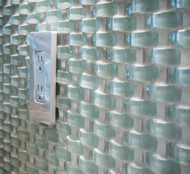 Kitchen Tile Backsplash Cover Up: Wavy Glass Mosaic Backsplash