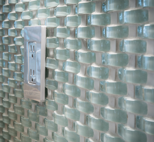 Wavy Glass Tile As Backsplash Electrical Outlet Plate