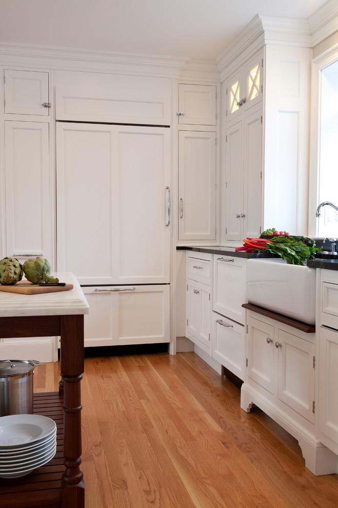 Elegant kitchen photo in Boston with a farmhouse sink