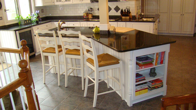 wayne kitchen remodel island seating side traditional