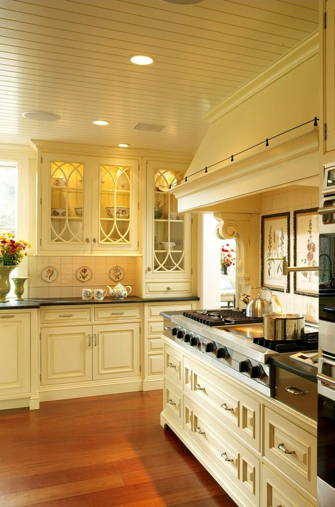 Inspiration for a rustic kitchen remodel in Philadelphia with glass-front cabinets, stainless steel appliances, yellow cabinets and soapstone countertops