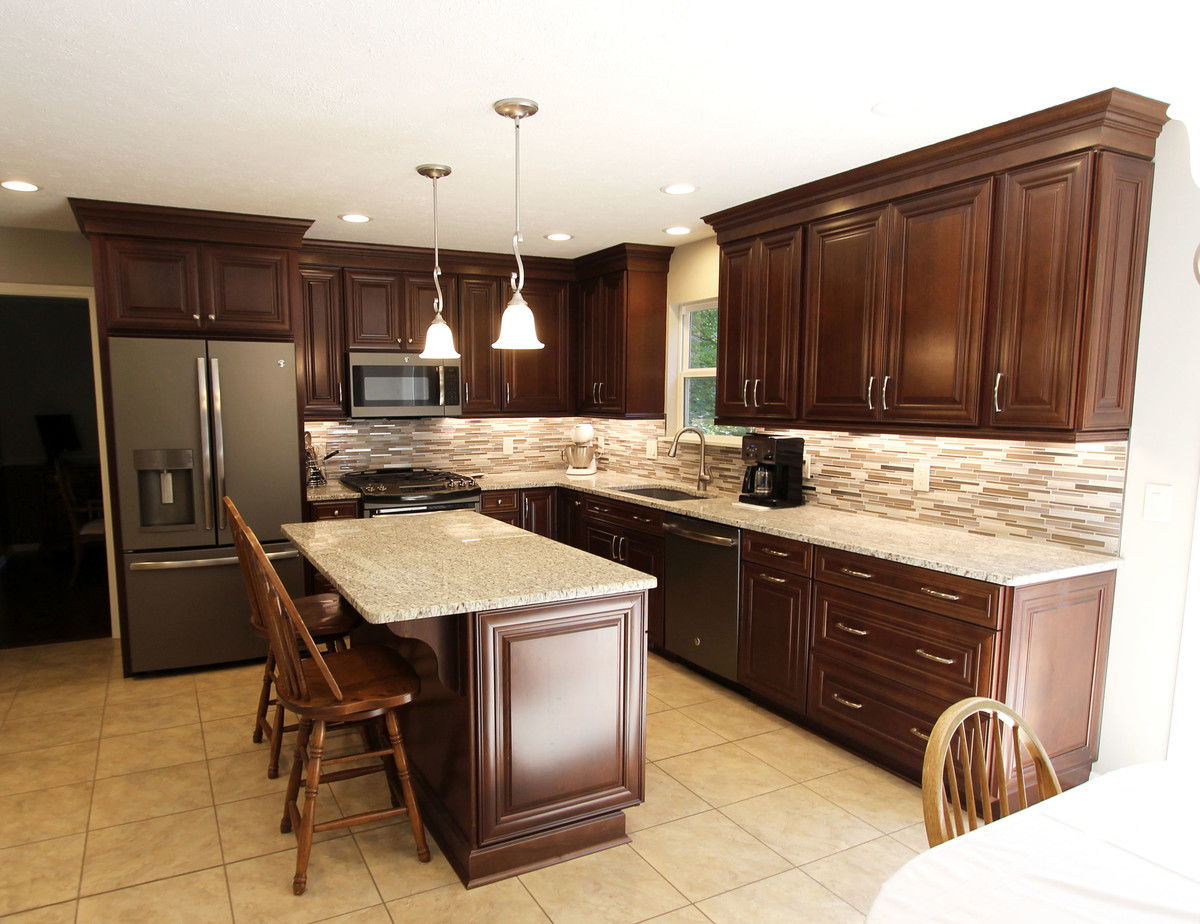 Waypoint Cherry Chocolate Cabinets and Giallo Ornamental ...