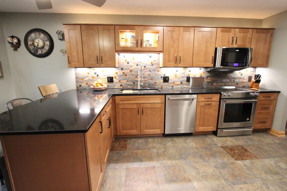 Waypoint Maple Spice Kitchen Cabinets w/ Fire & Ice Brick ...