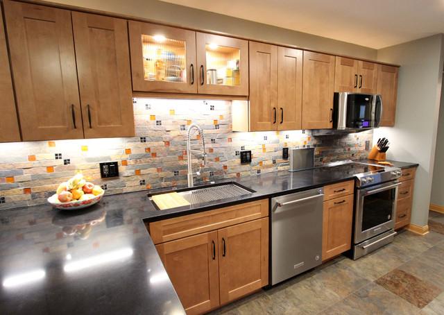 Waypoint Maple Spice Kitchen Cabinets W Fire Ice Brick Mosaic Backsplash Transitional Kitchen Cleveland By Cabinet S Top Houzz Uk