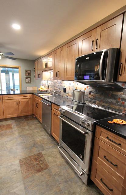 Waypoint Maple E Kitchen Cabinets W Fire Ice Brick