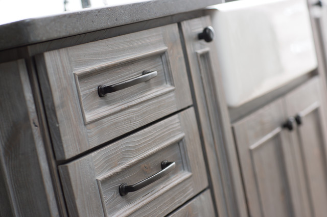 Weathered Wood Kitchen Island Transitional Kitchen