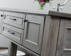 Weathered Wood Kitchen Island rustic-kitchen