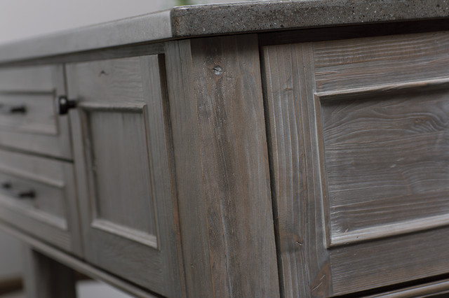 Weathered Wood Kitchen Island Contemporary
