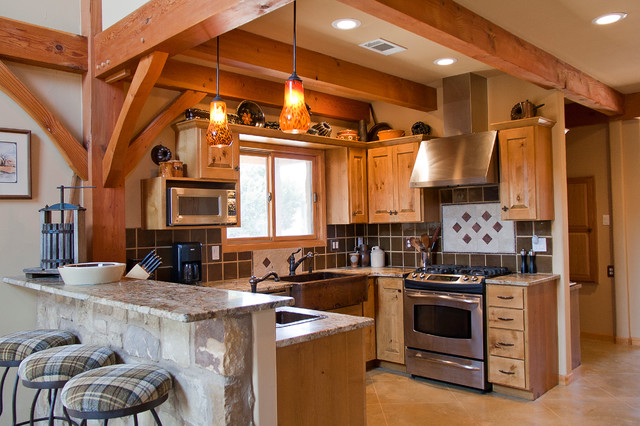 Weekend Retreat Timber Frame Home Traditional Kitchen