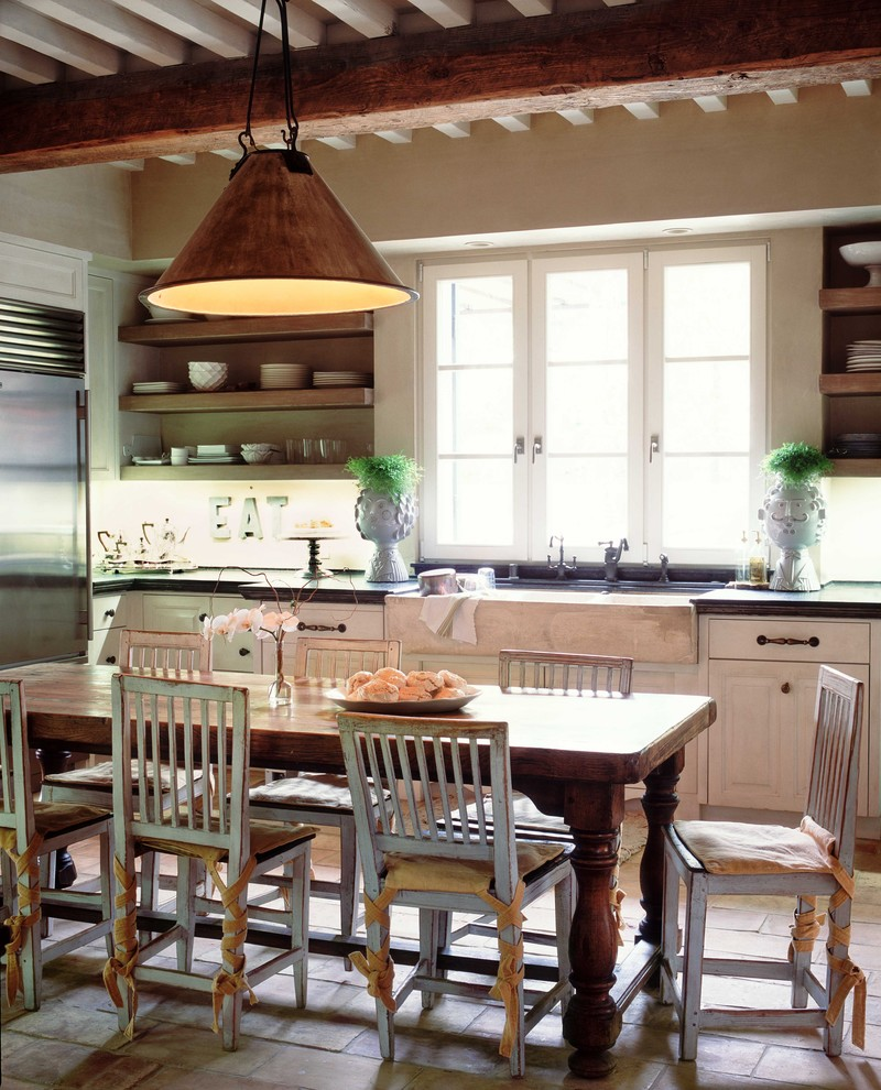 Inspiration for a cottage kitchen remodel in Orange County with a farmhouse sink