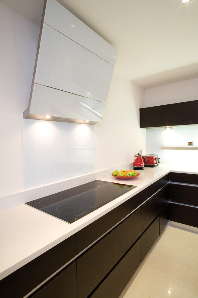 Trendy kitchen photo in Other with flat-panel cabinets and dark wood cabinets