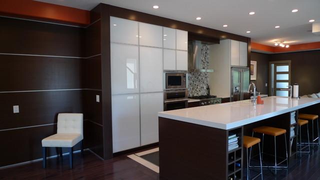 Wenge veneer and white glass kitchen for Wenge kitchen designs