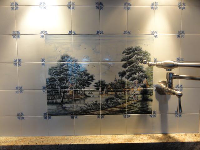 Wesselink Delft Tile Tableau Backsplash Traditional Kitchen
