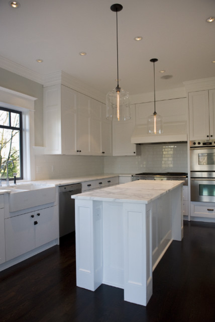 West 4th renovation featuring niche modern bell jar for Modern island pendant lighting