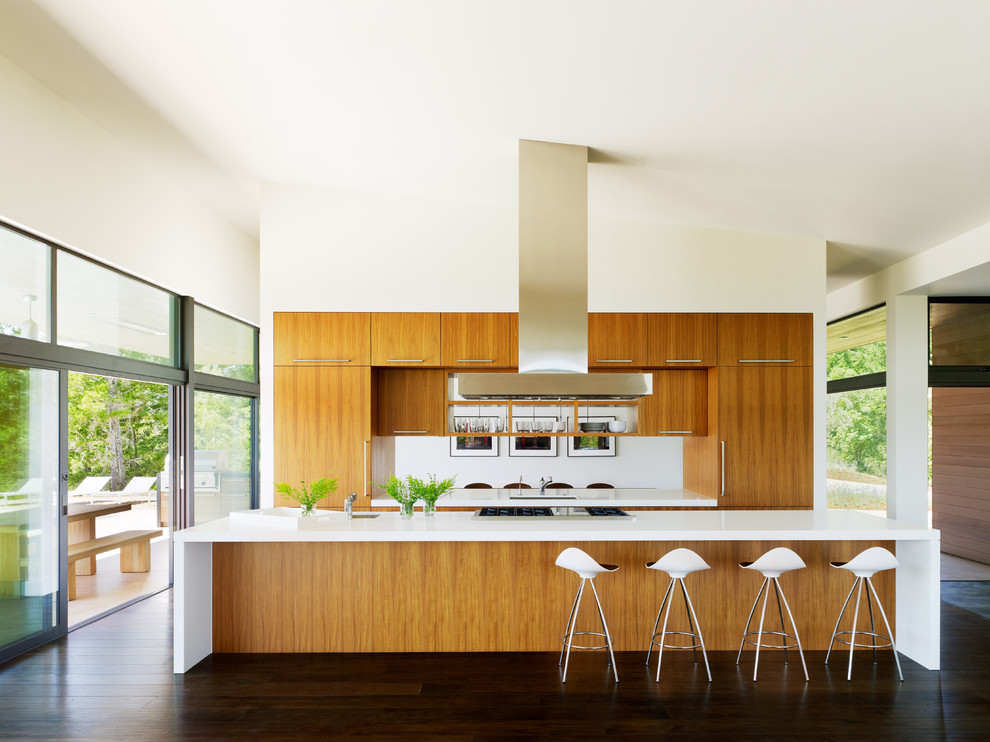 Eat-in kitchen - 1960s galley dark wood floor eat-in kitchen idea in San Francisco with flat-panel cabinets, medium tone wood cabinets and an island