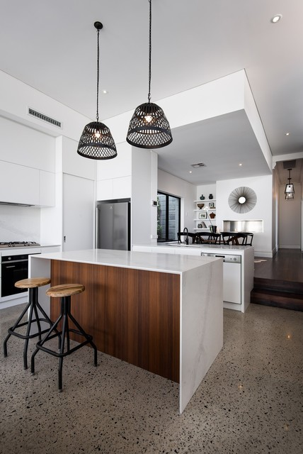 West Leederville Residence Contemporary Kitchen With Feature Pendant Lighting