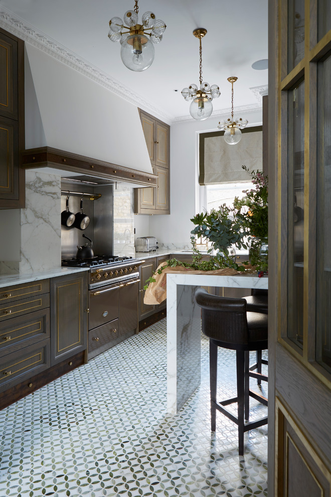 Open concept kitchen - traditional marble floor open concept kitchen idea in London with beaded inset cabinets, dark wood cabinets, white backsplash and stone slab backsplash