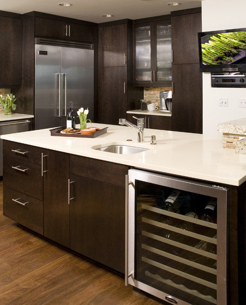 Contemporary Kitchen Island: What Size Was The Cabinet Before The Wine Chiller Was