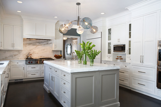 dark wood floors in kitchen white cabinets. Large transitional u shaped dark wood floor and brown kitchen idea in  New York White Cabinet Dark Floor Houzz